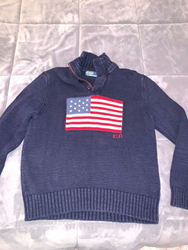 Picture of Mens Ralph Lauren POLO USA American Flag Cotton Knit Sweater Size L