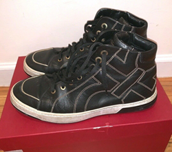 Picture of Salvatore Ferragamo Men Black Gold Nicky Stitched Gancini High Top Sneaker 10.5
