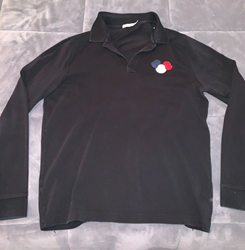 Picture of Mens Moncler Long Sleeve Polo Shirt Black Size XL