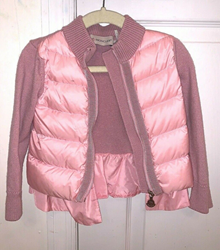 Picture of Moncler Kids Padded Puffer Jacket Down Wool Zip Up Sweater Pink Size 2 Girls