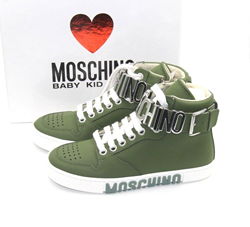 Picture of New Moschino Leather Hi Tops Sneakers Kids Unisex In Size 30 Kids Size 12